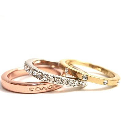 new coach set of 3 rings stackable pave logo silver